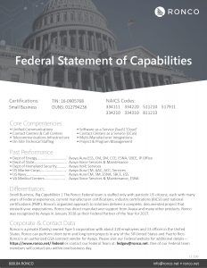 Ronco Federal Statement of Capabilities Certifications - TIN: 16-0905768 Small Business DUNS: 012794236 - NAICS Codes: 33411, 334220, 511210, 517911, 334210, 334310, 811213