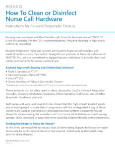 Ronco-Rauland-AMETKE-CleaningInstructions-For-Responder-Nurse-Call-Hardware