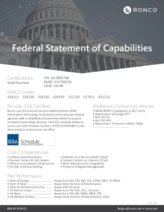 Ronco Systems Integrators Are Federal Contractors - Statement of Capabilities 2021